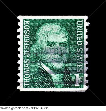 Usa - Circa 1968 : Cancelled Postage Stamp Printed By Usa, That Shows Thomas Jefferson, Circa 1968.