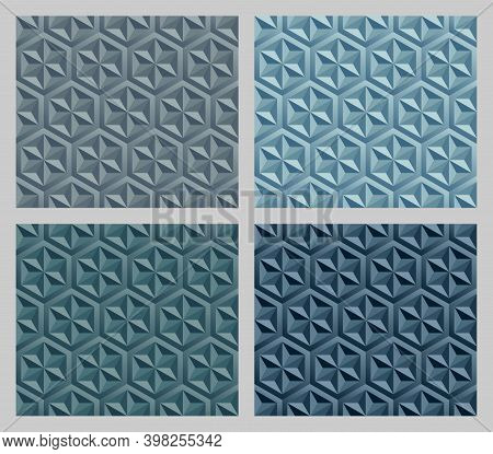 Geometric Hexagram Shapes Seamless Patterns. Earth Tone Blue Color Background Set. Vector Illustrati
