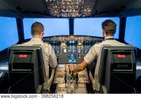 Gdansk, Poland - December 06, 2020: Interior Of Modern Flight Simulator For The Training Of The Pilo