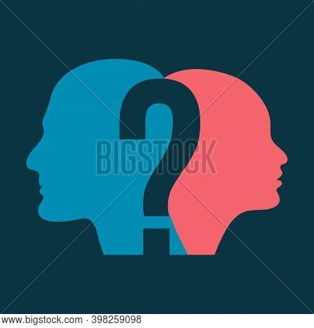 Silhouette Of Man And Woman Head With Question Mark, Symbolizing Psychological Processes Of Understa