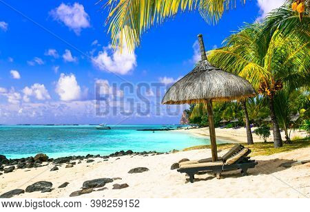 Relaxing tropical holidays . beach scenery . resorts of Mauritius island, Le Morne beach
