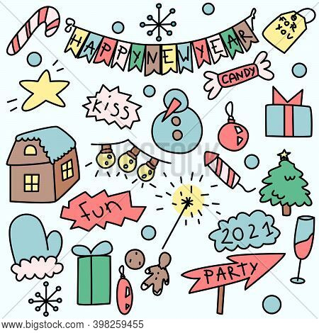 New Year Party Doddle Icons. Colorful Isolated Chrismas And New Year Icon Set. Handdrawn Cute Pictur