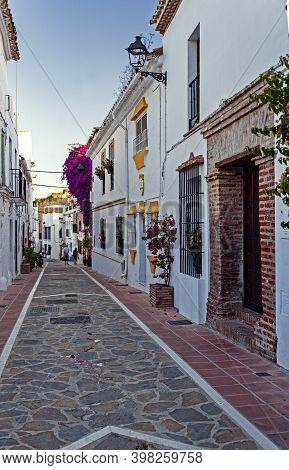 Narrow Cobblestone Street In The Resort Town Of Marbella, Spain