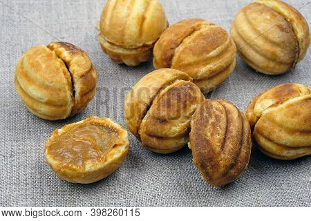 Homemade Cookies Nuts With Condensed Milk. Homemade Shortbread Nuts. Delicious Cookies. Homemade Coo
