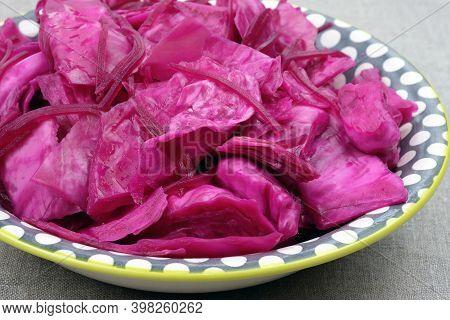 Cabbage With Beet Salad In A Plate. Sauerkraut With Beets. Pickled Cabbage With Beets In A Plate On