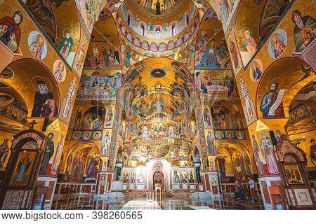 Podgorica, Montenegro - September 7, 2015: Old Church Interior In Podgorica City, Montenegro, Europe