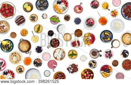 Many Varied Cups With Drinks, Berries And Desserts Isolated On White