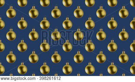 Background Of Many Gold Christmas Balls On Dark Blue