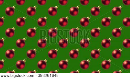 Background Of Many Red Christmas Balls On Green