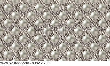 Background Of Many White Christmas Balls On Canvas