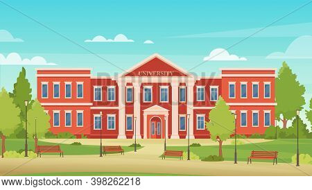 Cartoon Urban Cityscape With College Campus Facade Or Academy For Students, Entrance To Library, Hig