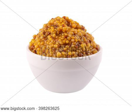 Grain Mustard Sauce In Bowl, Isolated On White Background. Mustard Beans.