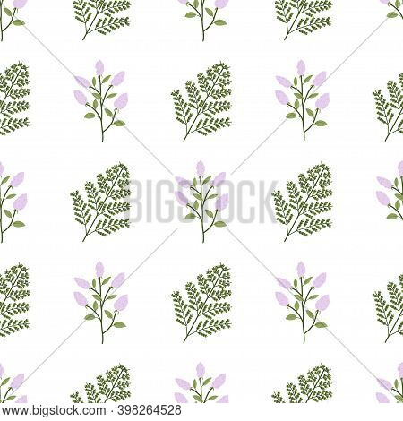Jungle Foliage Seamless Pattern With Fern Leaf And Lilac Flower. Exotic Vector Forest Wallpaper.