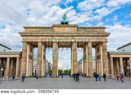 Berlin, Germany - May 2019: Brandenburg Gate (brandenburger Tor) In Center Of Berlin
