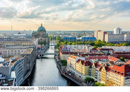 Berlin Cathedral (berliner Dom) On Museum Island And Spree River At Sunset, Germany