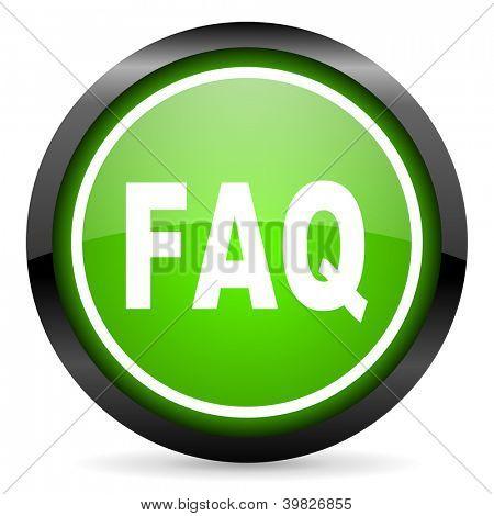 faq green glossy icon on white background