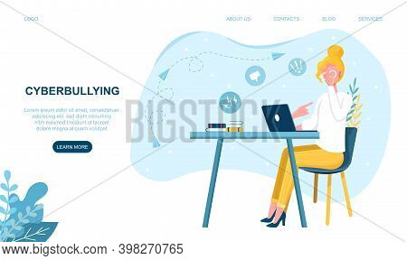 Female Character Is Being Cyberbullied. Concept Of Online Harassment With Unfriendly Mean Messages.