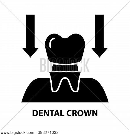 Dental Crown Icon, Black Vector Sign With Editable Strokes, Concept Illustration