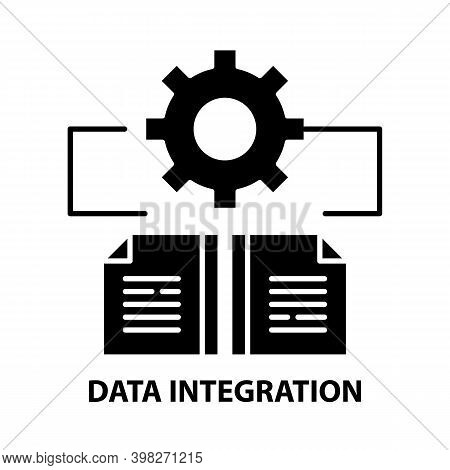 Data Integration Icon, Black Vector Sign With Editable Strokes, Concept Illustration