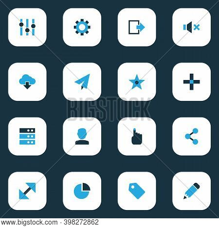 User Icons Colored Set With Resize, Add, Stabilizer And Other Pie Chart Elements. Isolated Vector Il