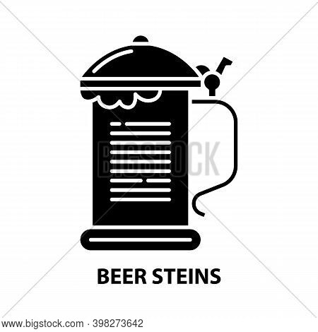 Beer Steins Icon, Black Vector Sign With Editable Strokes, Concept Illustration