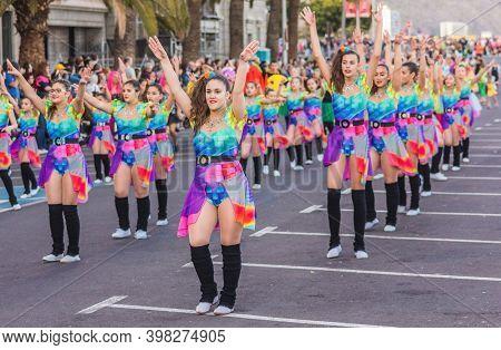 Tenerife, Spain - 09-02-2016: Tenerife Carnival - Colorful Dancers Parading At The Carnival Gala.