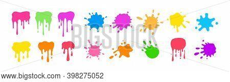 Paint Splash Round Shape Colorful Spatters Ink Set