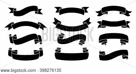 Ribbon Hand Drawn Set Tape Black Silhouette Vector