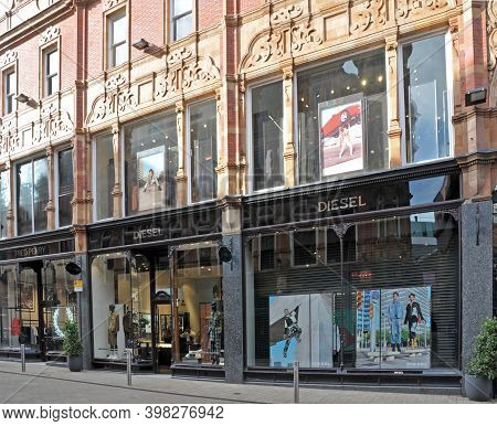 Leeds, West Yorkshire, United Kingdom - 3 September 2020: The Diesel And Fred Perry Fashion Shops Ki