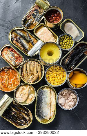 Canned Conserve Products In Tin Cans. With Fresh Organic Ingridients Saury, Mackerel, Sprats, Sardin