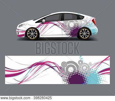 Car Decal Wrap Design Vector With Wave Element . Graphic Abstract Shapes Racing For Vehicle, Race Ca