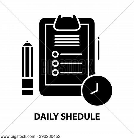 Daily Shedule Icon, Black Vector Sign With Editable Strokes, Concept Illustration