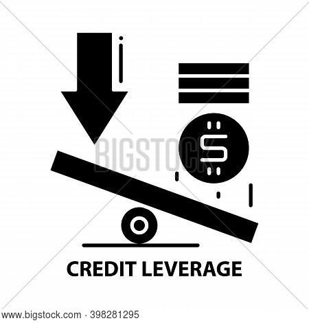 Credit Leverage Icon, Black Vector Sign With Editable Strokes, Concept Illustration