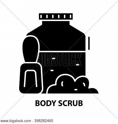 Body Scrub Icon, Black Vector Sign With Editable Strokes, Concept Illustration
