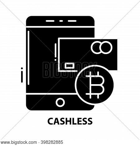 Cashless Symbol Icon, Black Vector Sign With Editable Strokes, Concept Illustration