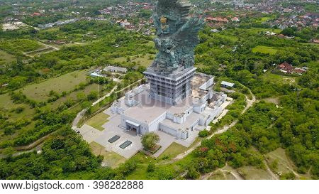 Top Down View To Statue Of God Garuda. Aerial View Statue Hindu God Garuda Wisnu Kencana Statue, Bal
