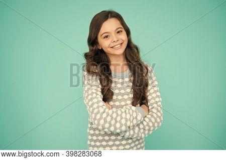 Child Care. Happy Childhood. Beautiful Kid. Emotional Girl. Little Girl Blue Background. Smiling Sma