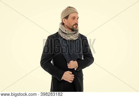 Knitted Accessories. Mature Man Cold Winter Weather Style. Winter Collection. Man Enjoy Warmth And C