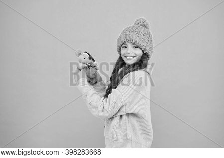 Happy Childhood. Girl Child Hold Rat Or Mouse Toy. Rat Symbol Year. Plush Toy. Soft Toys Are Best. W