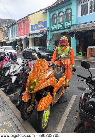 Phuket Thailand 30 May 2018 : Colorful Robot Security In Phuket Walking Sreet At Daylight In Phuket