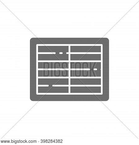 Ventilation Grill, Supply Ventilation System Grey Icon.