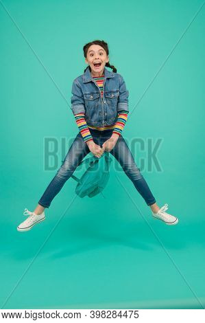 Make The First Day Memorable. Happy Child Jump Blue Background. September 1. Back To School. Startup