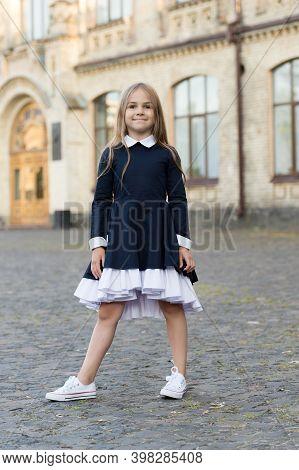 Adorable Kid Wear Elegant School Dress With Formal Look In Schoolyard, Uniform.