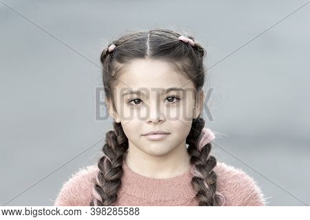 Beautiful Hairstyle. Fashionable Hairstyle For Kids. Small Girl With Fashionable Braids Hairstyle. F