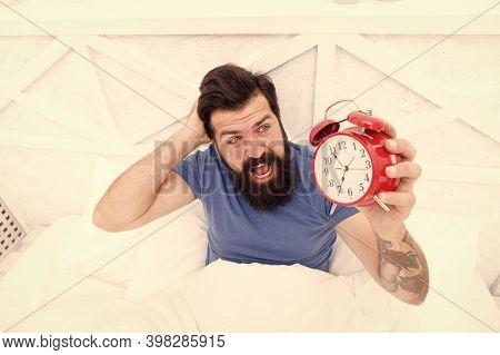 Annoying Sound. Hate Noise Of Alarm Clock. Man Awake Unhappy With Alarm Clock Ringing. Insomnia Driv
