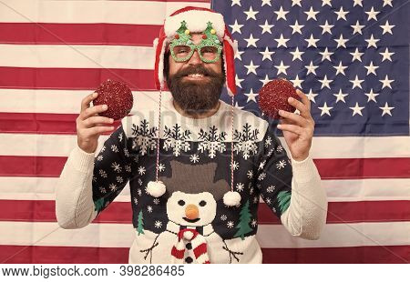 Christmas Tradition From Usa. Xmas And New Year. Tradition Of Patriotism. My Country And Tradition.