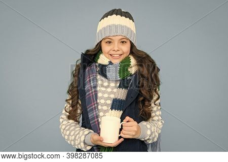 Hot Beverage. Idea For Warming. Happy Girl Hipster. Kid Winter Fashion. Child Warm Knitwear. Baby Te