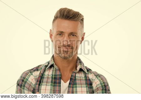 Looking Handsome. Handsome Middle-aged Man Isolated On White. Handsome Look Of Unshaven Adult. Mens