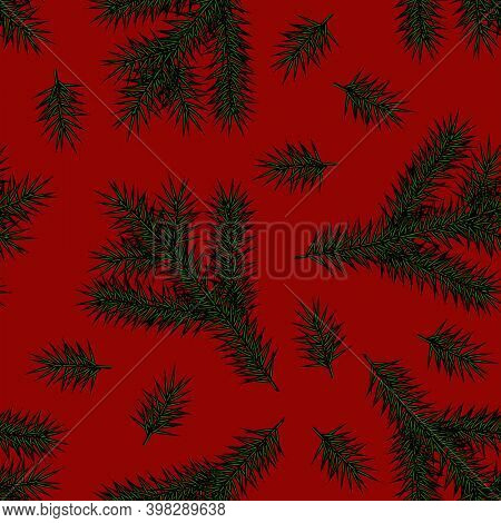 Christmas seamless pattern with fir branches on a red background. Vintage engraving stylized drawing.