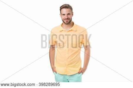 Handsome Smiling Man. Friendly Shop Assistant. Best Manager For You. Man With Bristle Isolated On Wh